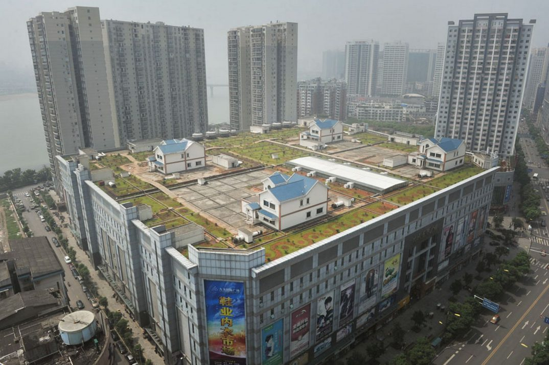 Villas are built on top of an eight-story shopping centre on August 13, 2012 in Zhuzhou, China-1264497